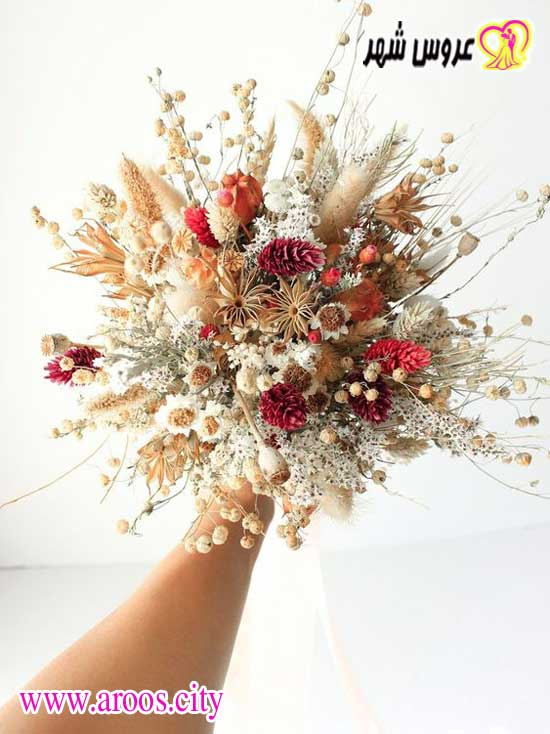 دسته گل عروس با خوشه گندم